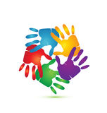 Hands around logo apps. Painted hands with vivid colors logo vector eps10 Royalty Free Stock Photos