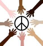 Hands around Peace symbol Royalty Free Stock Images