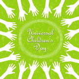 Hands around the text, universal children's day Stock Photos