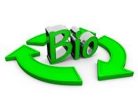Word bio. Hands around the word bio. 3d render Royalty Free Stock Image