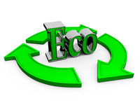 Word eco. Hands around the word eco. 3d render Royalty Free Stock Photography