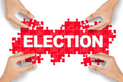 Hands arrange election text Royalty Free Stock Image