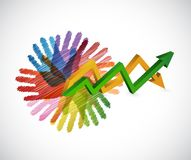 Hands an arrow business graph isolated. Illustration design Royalty Free Stock Photo