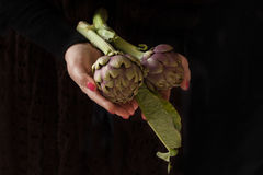 Hands With Artichokes Stock Photos
