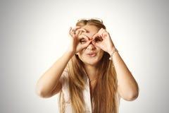 Hands as binoculars Royalty Free Stock Photo