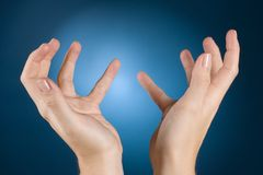 Hands ask mercy. Body language - woman's hands ask mercy Stock Images