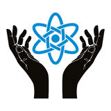 Hands with atom vector symbol. Stock Images