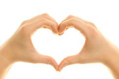 hands att forma för hjärta Arkivfoto