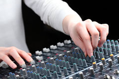 Hands and Audio Mixer Royalty Free Stock Photos