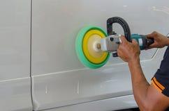 Auto Detailing Car. Hands with Auto polisher. Car wax Stock Photos