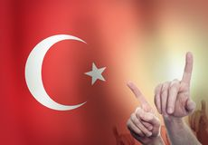 Hands on the background of the Turkey flag. Freedom concept.  stock images