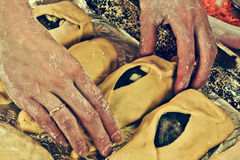 Hands baker with pies. Royalty Free Stock Photography