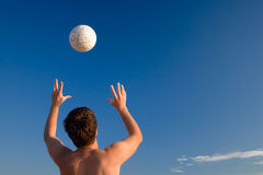 Hands&ball. Beach game Royalty Free Stock Image