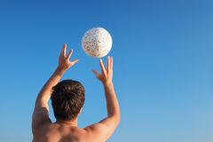 Hands&ball-2 Stock Images