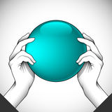 2Hands and ball. Two hands holding a ball can be used as an illustration of help or teamwork or as part of other creative design. Editable vector with several Royalty Free Stock Photography