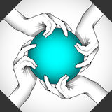4Hands and ball. Vector illustration of hands with ball as symbol of power, help, teamwork, etc... can be part of other creative designs. Editable vector with stock illustration