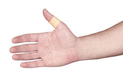Hands with band-aid adesive  plaster Royalty Free Stock Images