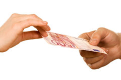 Hands with banknote Stock Photo