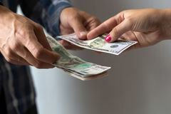 Hands with banknotes. Stock Photo