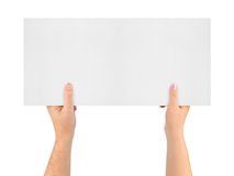 Hands and banner Royalty Free Stock Photography