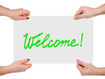 Hands and banner Welcome Royalty Free Stock Images
