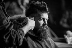 Hands of barber with hair clipper, close up. Hipster bearded client getting hairstyle. Barber works with hair clipper. Man with beard in hairdressers chair royalty free stock image