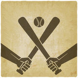 Hands with baseball bats and ball Stock Photo