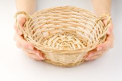 Hands and basket Stock Photo