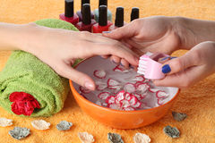 Hands and beautician Royalty Free Stock Image