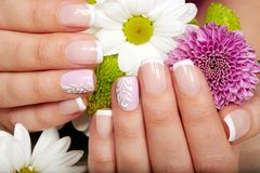 Hands with french manicured nails. Hands with beautiful short french manicured nails and a bouquet of flowers Royalty Free Stock Image