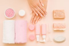 Hands beauty care spa salon treatment products stock photography