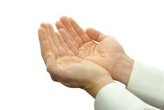 Hands begging alms Royalty Free Stock Photos