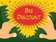 Big discount explosion, right in your amazed face! Royalty Free Stock Photo