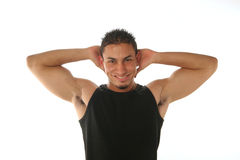 Hands behind his head. Guy hold his hands behind his head on white background horizontal Stock Photos