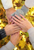 Hands of best friends together outdoor Royalty Free Stock Images