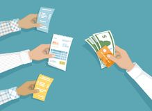 Hands with bills, money, credit card. Illustration sales shopping. Paying bills. Payment of goods, service, utility, restaurant. Vector design in a flat style stock illustration