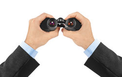 Hands with binoculars Stock Photography