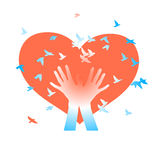 Hands with birds on a background of  hearts. Abstract vector background.  Stock Photography
