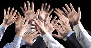 Hands black bground Royalty Free Stock Photos