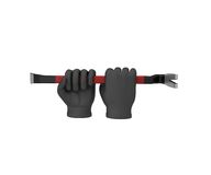 Hands in a black gloves holding a crowbar. 3d render. White back Royalty Free Stock Photography