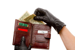 Hands in black gloves with wallet Royalty Free Stock Photography