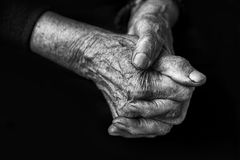 Hands in black and white. Monumental old woman's hands in black and white Royalty Free Stock Images