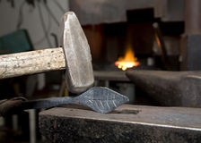 Hands of blacksmith by the work Stock Images