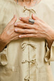 Hands and blouse Royalty Free Stock Photos