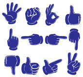 Hands in blue colors Stock Photos