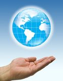 Hands  blue world Stock Image