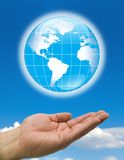 Hands blue world clouds stock illustration