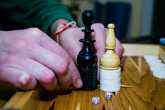 Hands of the board game backgammon chess. In Bulgaria Royalty Free Stock Photos