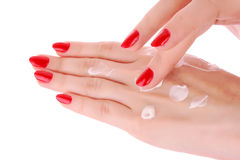 Hands with body cream stock image