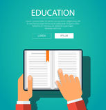 Hands with book. Knowledge education flat concept. Vector illustration Stock Image